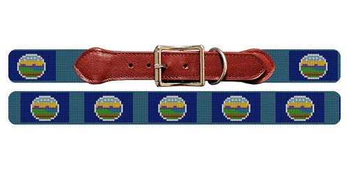 Kansas Flag Needlepoint Dog Collar