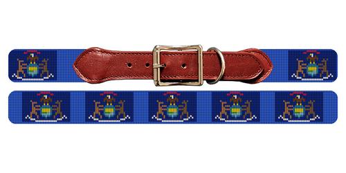 Michigan Flag Needlepoint Dog Collar