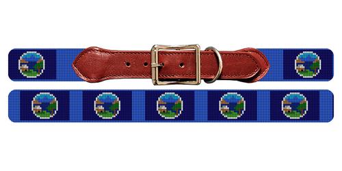 Nebraska Flag Needlepoint Dog Collar