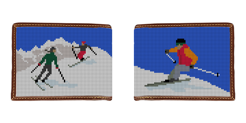 Skiing Needlepoint Wallet