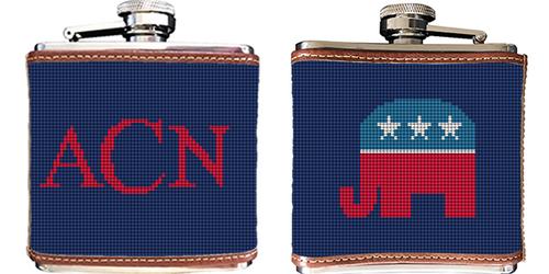 Republican Needlepoint Flask