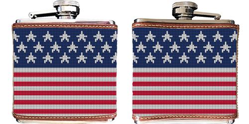 American Flag Needlepoint Flask