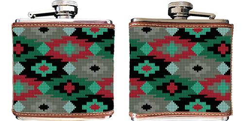 Aztec Needlepoint Flask