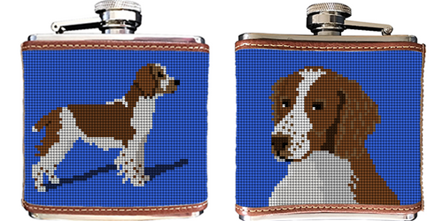 Spaniel Needlepoint Flask