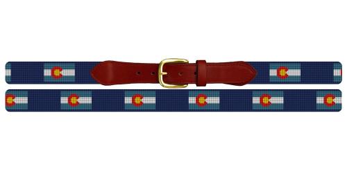 Colorado Flag Needlepoint Belt
