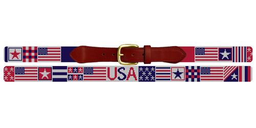 Fourth of July American Flag Needlepoint Belt