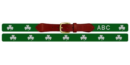 Lucky Irish Clover Needlepoint Belt
