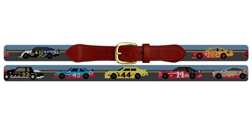 Stock Cars Needlepoint Belt