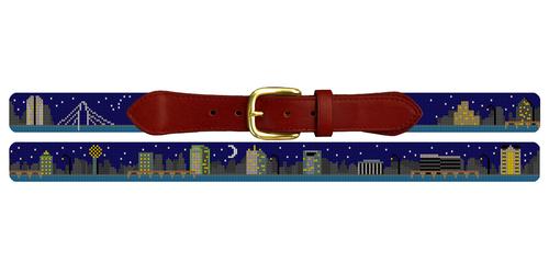 Dallas Skyline Needlepoint Belt