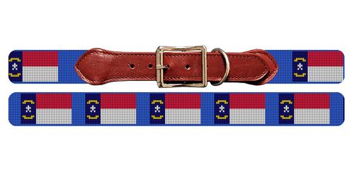 North Carolina Flag Needlepoint Dog Collar