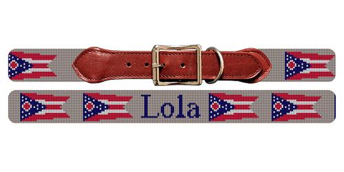 Ohio Flag Needlepoint Dog Collar