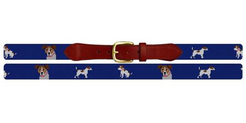 Jack Russell Needlepoint Belt