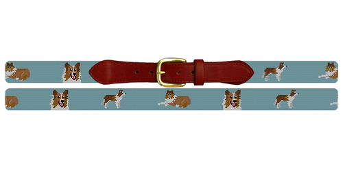 Collie Needlepoint Belt