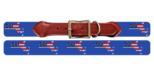 Massachusetts State Needlepoint Dog Collar