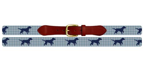 Gingham Labrador Retriever Needlepoint Belt