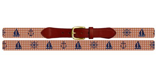 Gingham Nautical Needlepoint Belt