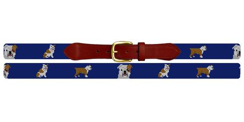 English Bulldog Needlepoint Belt