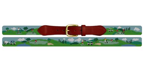 Golf Day Needlepoint Belt