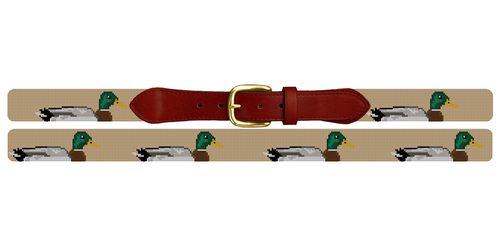 Preppy Mallard Needlepoint Belt