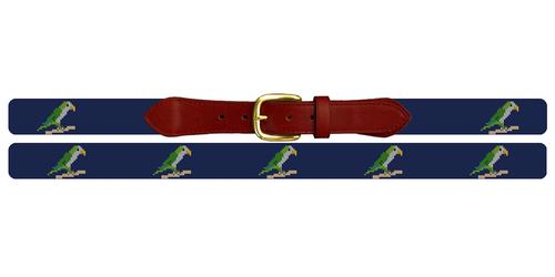 Preppy Parrot Needlepoint Belt