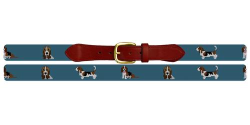 Basset Hound Needlepoint Belt