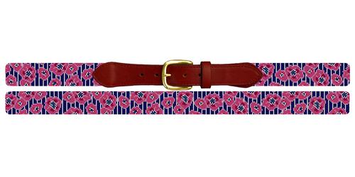 Preppy Floral Pinstripe Needlepoint Belt