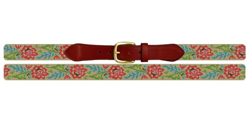 Lacy Floral Needlepoint Belt