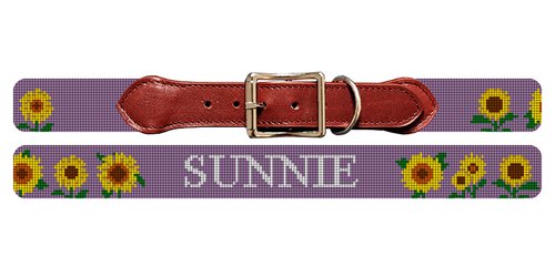 Sunflower Needlepoint Dog Collar