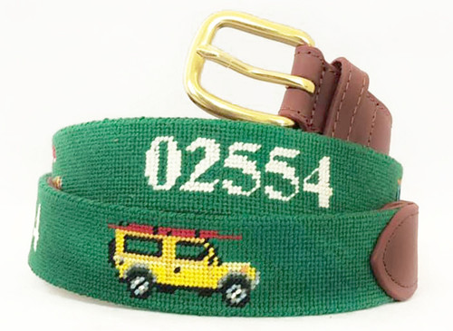 Nantucket Beach Jeep Needlepoint Belt