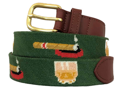Whiskey and Cigars Needlepoint Belt