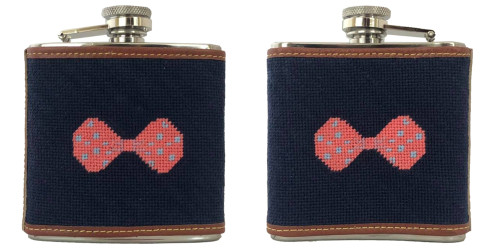 Bow Needlepoint Flask