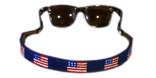 American Flag Needlepoint Sunglass Strap