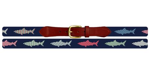Preppy Great White Shark Needlepoint Belt
