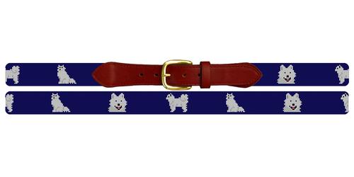 Samoyed Needlepoint Belt