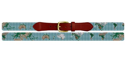World Map Needlepoint Belt