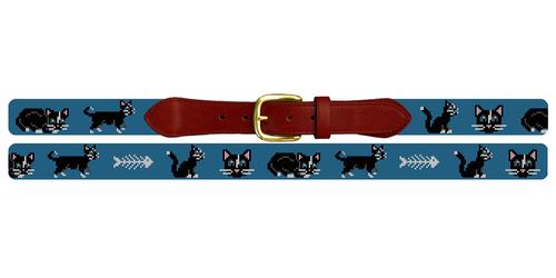 Black Cat Needlepoint Belt