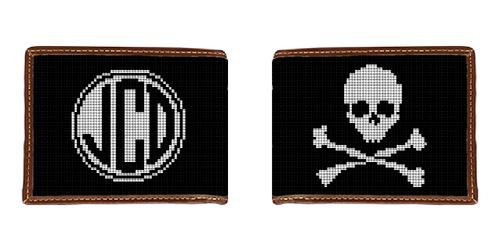 Skull and Crossbones Needlepoint Wallet