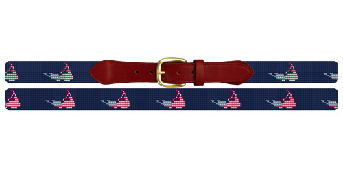 Nantucket Needlepoint Belt Navy Blue with American Flag Motif