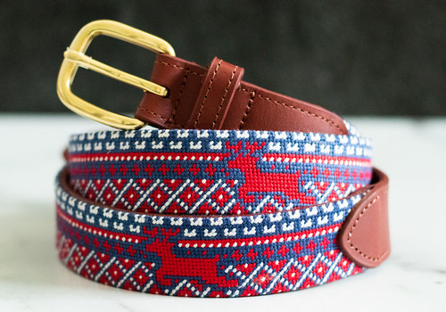 Nordic Reindeer Christmas Needlepoint Belt