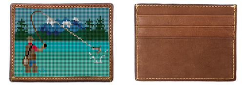 Fly Fishing Needlepoint Card Wallet