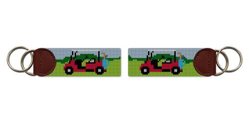 Golf Cart Needlepoint Key Fob