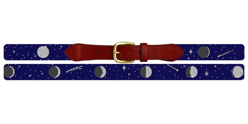 Moon Phases Needlepoint Belt