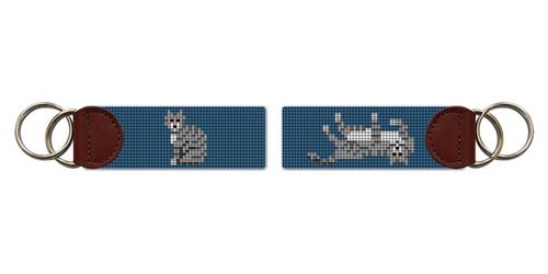 Grey Tabby Cat Needlepoint Key Fob