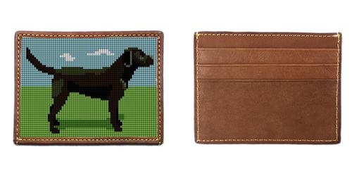 Black Lab Needlepoint Card Wallet