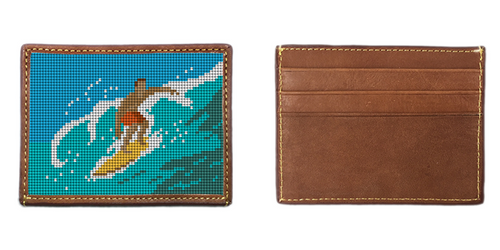 Surfing Needlepoint Card Wallet