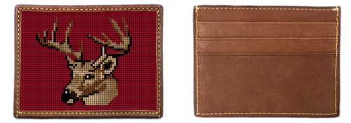 Deer Hunting Needlepoint Card Wallet