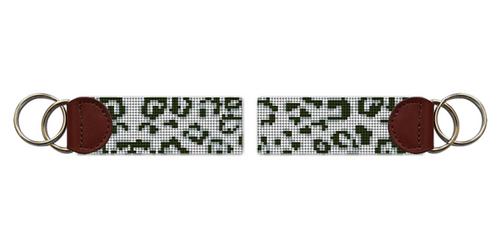 Snow Leopard Needlepoint Key Fob
