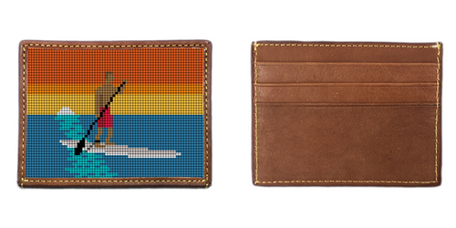 Stand Up Paddling Needlepoint Card Wallet