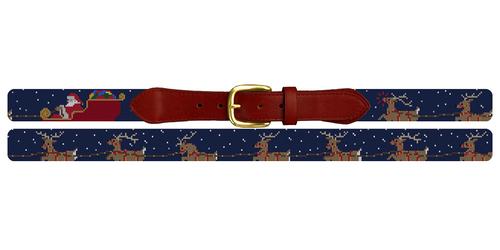 Santa's Reindeer Needlepoint Belt