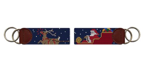 Santa's Reindeer Needlepoint Key Fob